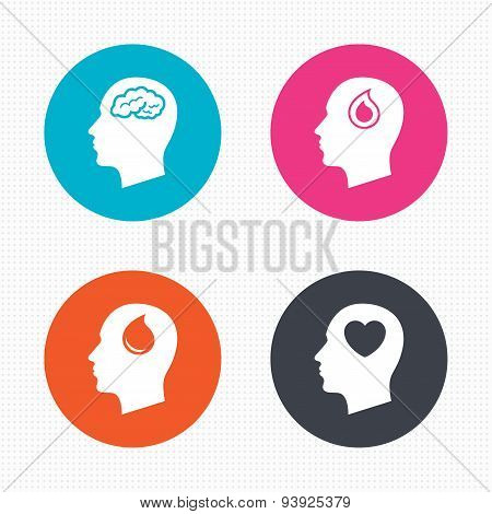 Head with brain icon. Male human symbols.