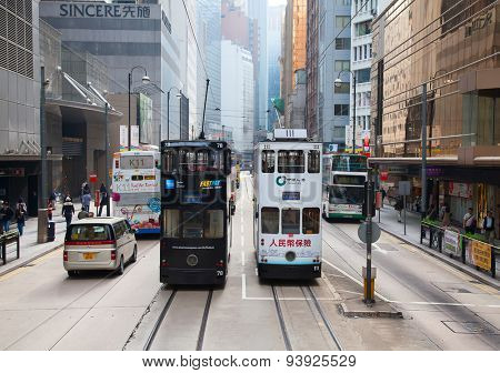 HONG KONG - DECEMBER 05: Unidentified people using tram in Hong Kong on December 05, 2010. Hong Kong tram is the only in the world run with double deckers and one of the main tourist attractions.
