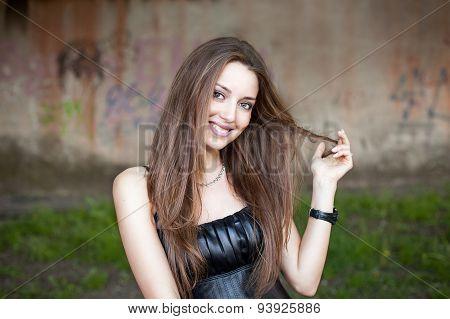 Smiling Beautiful European Model Posing Outdoor