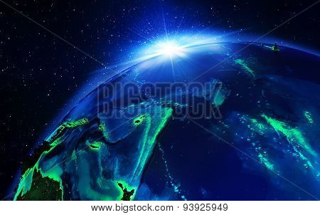 land area in pacific ocean, the night