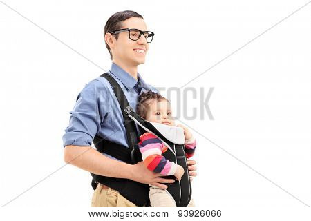 Young father with his daughter walking isolated on white background