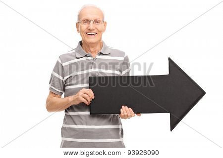 Cheerful senior gentleman holding an arrow and looking at the camera isolated on white background
