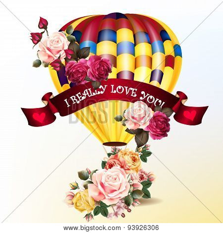 Valentine's Day Back With Roses And Air Balloon