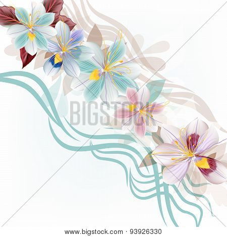 Beautiful Floral Illustration Design With Blue Stylized Flowers