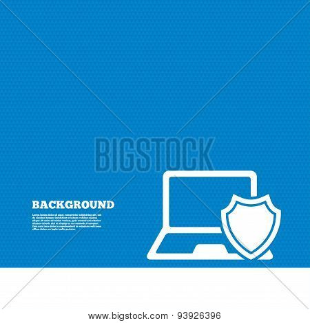 Laptop protection sign. Notebook with shield.