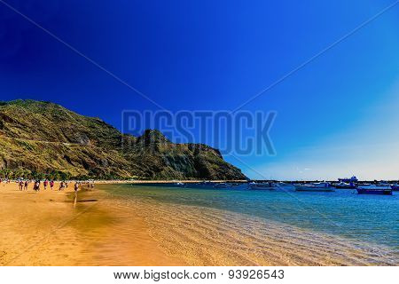Beach Las Teresitas With Water And Waves On Yellow Sand