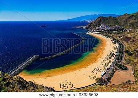 Aerial View To Las Teresitas Beach. Tenerife, Spain