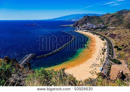 Aerial View To Las Teresitas Beach. Tenerife Island