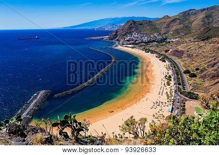 Beach Las Teresitas In Tenerife Canary, Spain