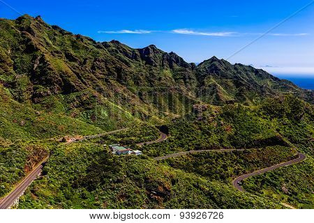 Green Mountains Or Rocks Valley With Winding Road