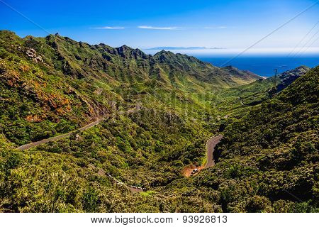 Green Mountains With Winding Road