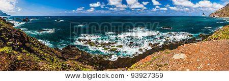 Panorama View To Stone Coast Ocean