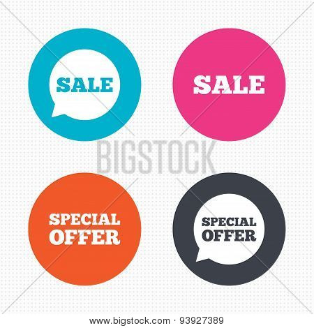 Sale icons. Special offer speech bubbles symbols