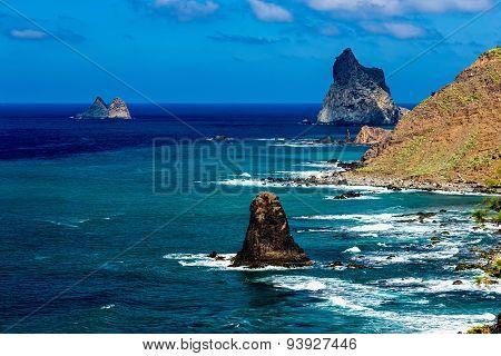 Coast Or Shore With Rocks Of Ocean