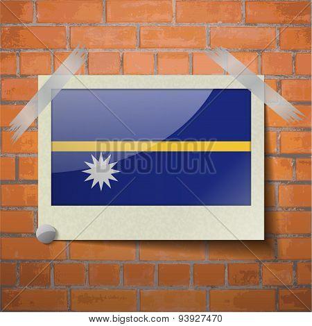 Flags Nauru Scotch Taped To A Red Brick Wall