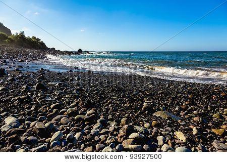Wild Stone Beach On Coast