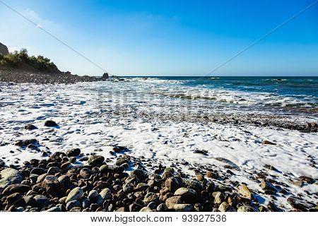 Wild Stone Beach On Ocean