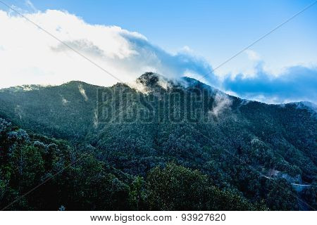 Green Mountains With White Clouds