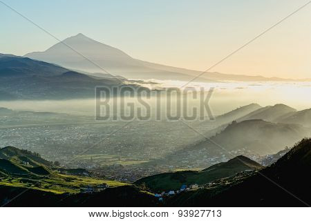 Sunset In Mountain And Teide Volcano