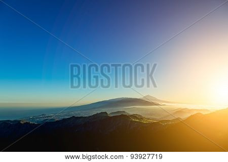 Sunset At Evening In Mountains
