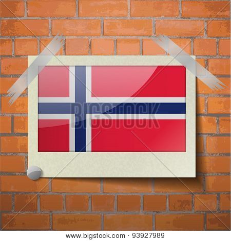 Flags Norway Scotch Taped To A Red Brick Wall