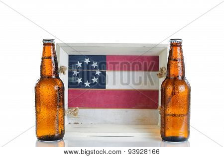 Holiday Food And Drink Serving Tray With Cold Beer Isolated On White Background
