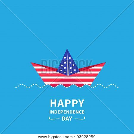 Paper Boat. Dashed Line Wave Happy Independence Day United States Of America. 4Th Of July.  Flat Des