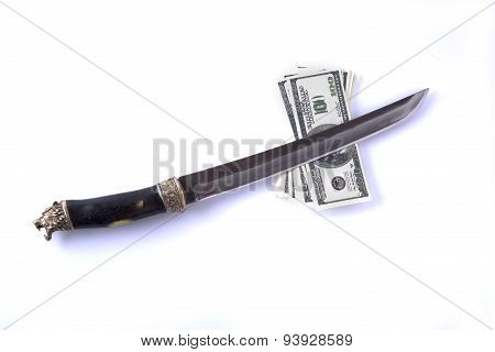 dagger and money isolated