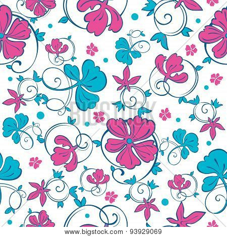 Vector Swirly Vibrant Flowers Seamless Pattern