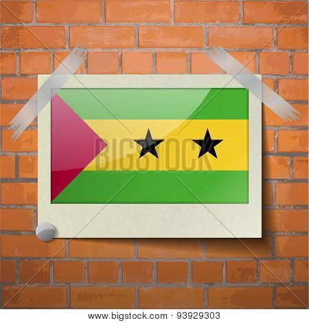 Flags Sao Tome Principe Scotch Taped To A Red Brick Wall