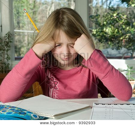 girl frustrated with homework