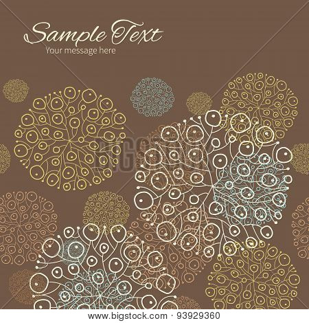 Vector blue brown abstract seaweed texture horizontal frame seamless pattern background