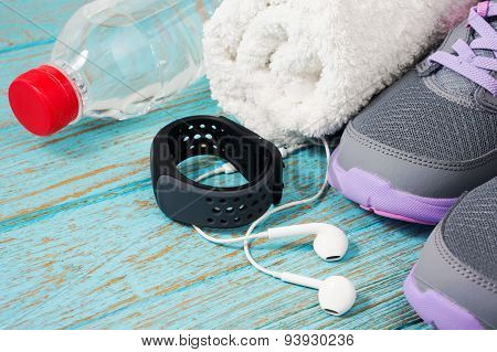 Fitness Set With Running Shoes And Heart Rate Monitor