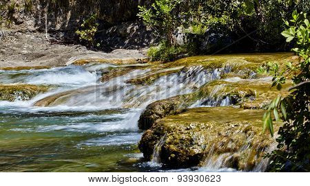 Waterfall Cascading Over Rocks