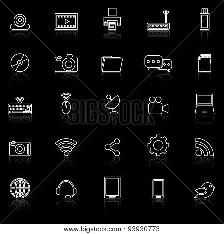 Hi-tech Line Icons With Reflect On Black