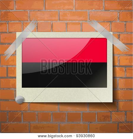 Flags Upa Scotch Taped To A Red Brick Wall