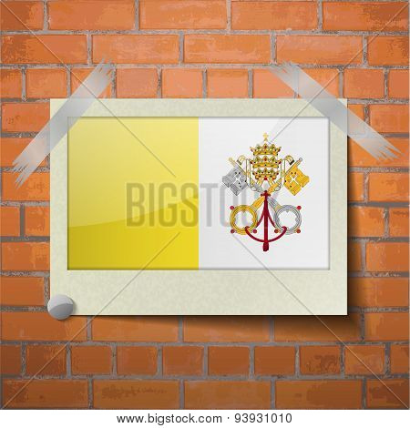 Flags Vatican Cityholy See Scotch Taped To A Red Brick Wall