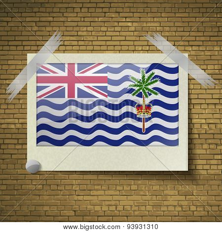 Flags British Indian Ocean Territory At Frame On A Brick Background. Vector