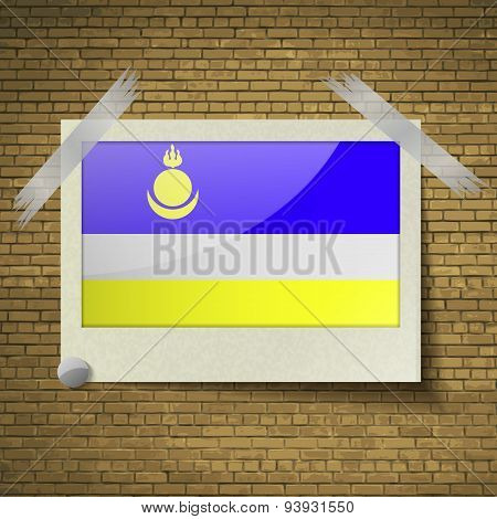 Flags Buryatia At Frame On A Brick Background. Vector