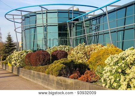 Vertical Flowerbed Near The Glass Building In Meerkerk, Netherlands