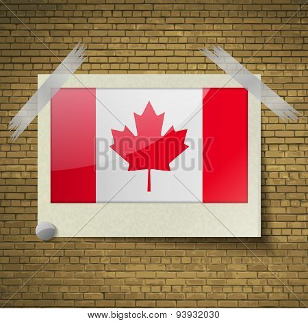 Flags Canada At Frame On A Brick Background. Vector