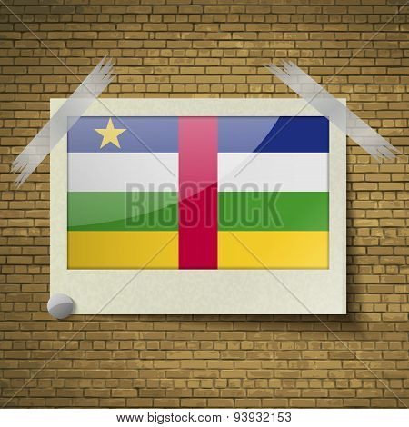 Flags Central African Republic At Frame On A Brick Background. Vector
