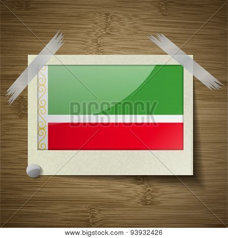 Flags Chechen Republic At Frame On Wooden Texture. Vector