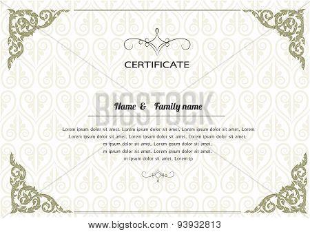 Certificate Design Template, thai design. thai pattern vector illustration