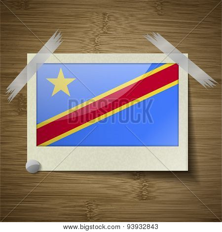 Flags Congo Democratic Republic At Frame On Wooden Texture. Vector