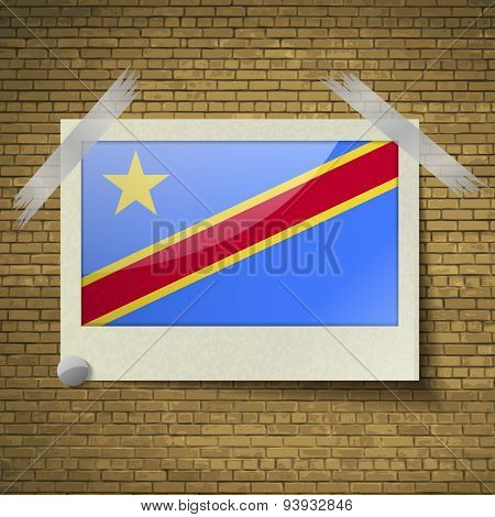 Flags Congo Democratic Republic At Frame On A Brick Background. Vector