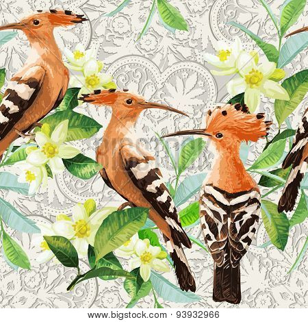 Seamless pattern of exotic birds, leaf and flower