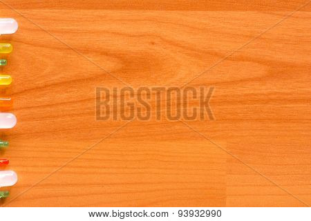 Led Aligned On The Left Edge Of The Wooden Floor