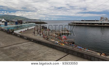 PONTA DELGADA, AZORES/PORTUGAL - JUN 15, 2015: View of the Sea Port of Ponta Delgada. City is located on Sao Miguel Island (232.99 km2) Region capital under the revised constitution of 1976.