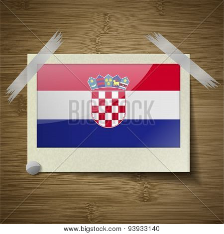 Flags Croatia At Frame On Wooden Texture. Vector